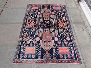 Vintage Hand Made Traditional Rug Oriental Wool Blue Pink Rug 166x114cm
