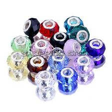 Lot 50pcs Mixed Faceted Murano Lampwork Glass Beads Fit European Charm Bracelets