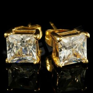 18k IP Gold Plated Stainless Steel Silver Out Iced Square Clear CZ Stud Earrings