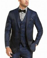 Tallia Mens Blazer Black Blue Size Medium M Animal Printed Notched $350 #061