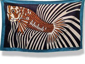 Hermes POISSON DE LA MER ROUGE Fish Tapis de Plage Terry Beach Towel 150x90cm