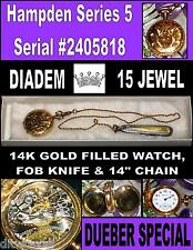 Dueber Ladies Watch Special Series (5) 15J Cir-1908 Antique Gold Filled Pendant