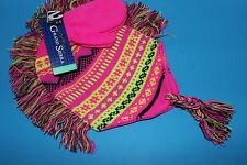 Toddler Stretchy Knit HAT & MITTEN Set ~Size 2T - 4T~Pink/Black/Bright Yellow~
