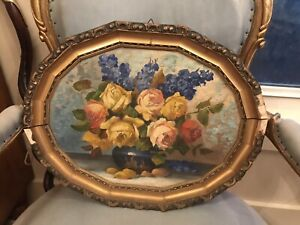 Antique/Vintage Roses Oil painting-beautiful, Pinks, Yellows And Blues.