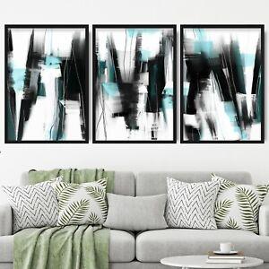 3 Abstract Black & Aqua Art Prints from Original Textured Painting Mix Size V1