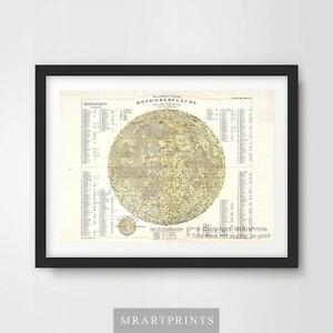 VINTAGE MOON MAP ILLUSTRATION Art Print Poster Home Decor A4 A3 A2 Wall Chart