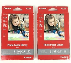 """Canon Photo Pixma Photo Paper GP-601 Glossy, 4""""x6"""", 50 Pack Sheets 2 packs of 50"""