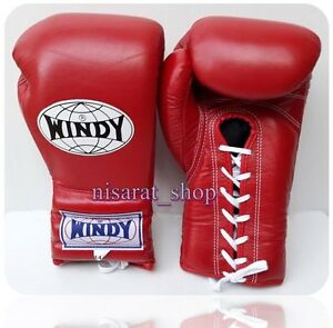 WINDY BOXING GLOVES LACE UP BGL MEXICAN STYE  RED 14,16,18,20 OZ. MUAY THAI  MMA