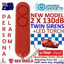 NEW TWIN SIREN PERSONAL DUAL130dB SIRENS WITH LED TORCH Pepper Spray Alternative