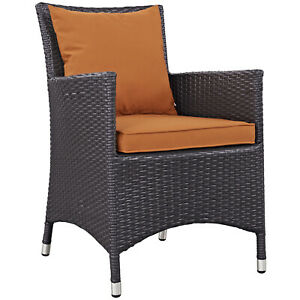 Modway Convene Wicker Rattan Outdoor Patio Dining Armchair with Cushion in Es...