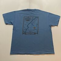 Vintage 90s Hanes Maine T-Shirt Size XL Blue Kennebec Made In Usa Single Stitch