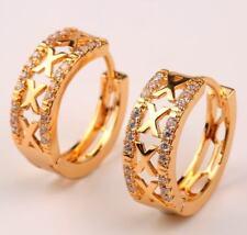 "18K Yellow Gold Filled- Hollow ""X"" Design Curve Topaz Zircon Hoop Gems Earrings"
