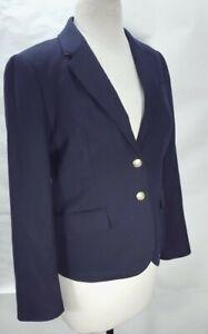 Women's J.CREW Blazer Jacket Wool Navy Blue Size 8P Gold Button Up