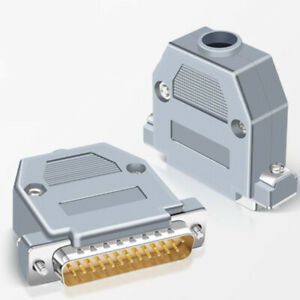 DB25 25 WAY D SUB Male&Female Plug Connector With Grey Hood Housing Solder Type
