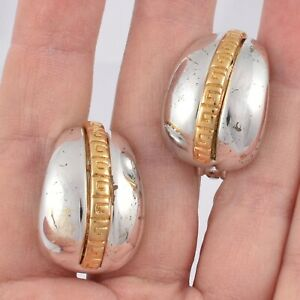 ELEGANT Vintage Signed GIVENCHY Silver Gold Tone LOGO Chunky Half HOOP EARRINGS