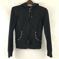 Twisted Heart Womens Hooded Jacket Small Black Summer Weight Embellished
