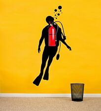 Scuba Diver Wall Decal for Fire Extinguishers - Fun Vinyl Mural Art for Walls