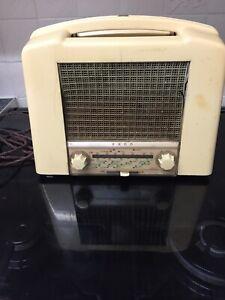 Vintage Ecko U215 1950s Cream Bakelite Valve Radio Receiver Spares And Repairs