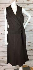 Talbots Linen Skirt Vest Set Womens 14 Brown Wrap Top V Neck A Line with Zipper