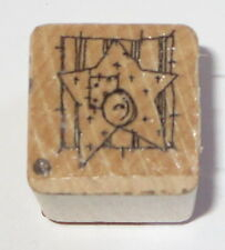 Star Button Rubber Stamp Close To My Heart Thread Spool Wood Mounted Sewing