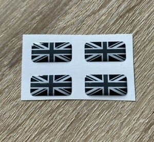 Union Jack 3D Gel Domed Sticker Flag Car Decal Black And White 20x10mm x4