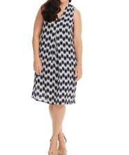 B by Bobeau Women's Pleat Front Dress Sleeveless Navy/White Plus Size 2X