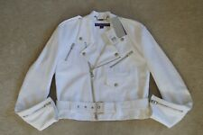 Ralph Lauren Purple Label White Davidson Zip Biker Jacket Womens UK 6 US 2 NEW