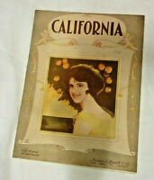 1922 Rare California Song Sheet Music By Cliff Friend & Con Conrad Illustrated