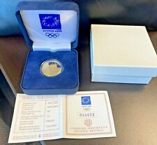 2004 GREECE  ATHENS OLYMPICS, WITH COA AS SEEN with box,  AGW= 0.3215 GOLD COIN