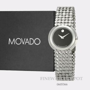 Authentic Movado Women's Trembeili Black Dial Stainless Steel Watch 0605366