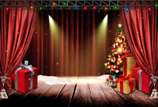 Stage Red Curtain Xmas Tree Gifts 10x8FT Vinyl Photo Background Studio Backdrop