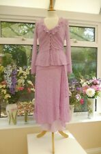 GHOST NEW PINK MAUVE EMBROIDERED LACE DRESS & MATCHING JACKET Sz M