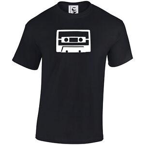 Retro music t-shirt cassette mix tape hand drawn old skool adult & kids sizes
