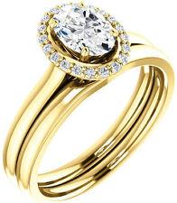 1.10 carat Oval & round Diamond Halo Engagement Wedding 14k Yellow Gold Ring