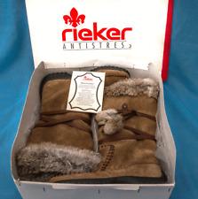 RIEKER LADIES LEATHER/SUEDE  BOOTS ~ FUR TRIM ~ SIZE 4