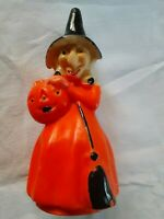 "Vintage 50s Gurley Halloween Witch Candle 8"" with Jack O Lantern Pumpkin"