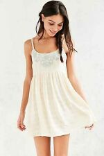 141167 Kimchi Blue Urban Outfitters Snow White Embroidered Babydoll Mini Dress S