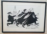 George Gale 1929-2003 original signed ink painting William Rees-Mogg interest