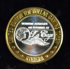 $10 RIVIERA Hotel/Casino,1995 An Evening at La Cage .999 Silver Strike (S133)