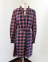 70s 80s blue /& pink plaid fits like 810 Vintage Western inspired plaid shirt dress with belt