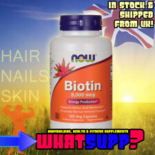 Biotina 5,000 mcg 120 casquillos de pelo uñas Vegano función inmune vitamina B7 Now Foods