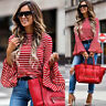Women Shirts Red O-Neck Stripe Flare Sleeve Casual Shirt Blouse Pullover Tops UK