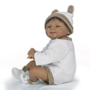 """Real Touch Silicone 18"""" Reborn African American Baby Unisex Doll Black Skin"""