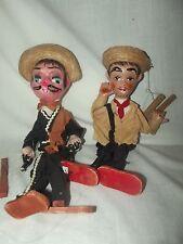 Vintage Puppet Mexican String Marionette Doll Pancho Villa Bandit Banito & Amigo