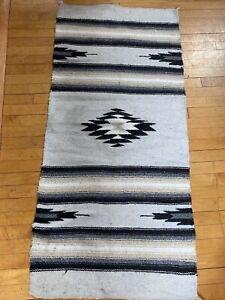 """Vintage Navajo Wool Blanket Rug Native American Indian Textile 59"""" X 27"""" Gray"""