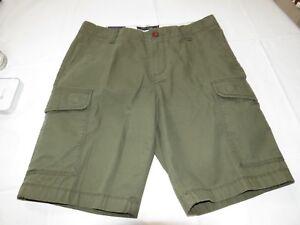 Hommes Tommy Hilfiger Cargo Court 30 Olive 78A8480 512 Coton Marche Casual Short