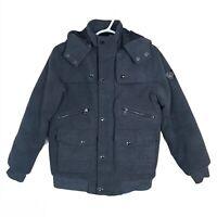 Coogi Coat Heavy Jacket Removable Hood Cargo Pocket Streetwear Gray Boys M 10-12