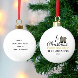 Personalised 1st Christmas in Our New Home Bauble Gift