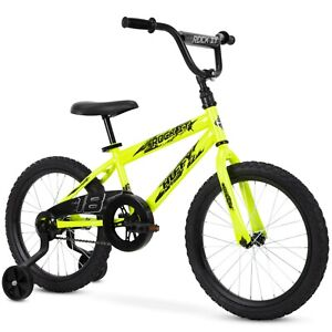 """Huffy 18"""" Rock It Boys Bike Ages 4-8 yrs Height (42 to 48 inches), Neon Yellow"""