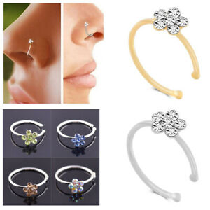 Crystal Flower Nose Ring Hoop Ear Cartilage Tragus Body Piercing Jewelry Gift
